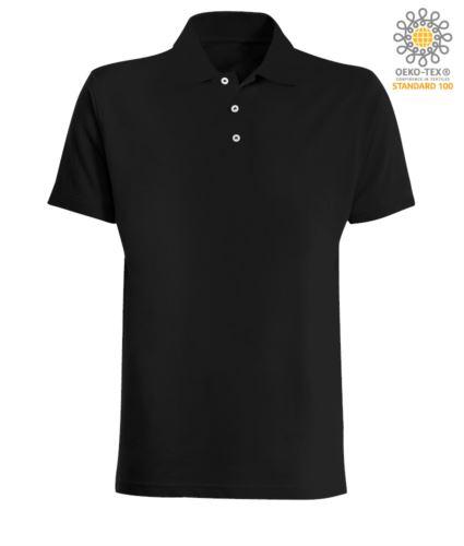 Polo manica corta in jersey colore nero