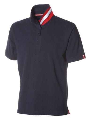 Polo a maniche corte in cotone piquet, colletto con contrasto tricolore visibile a colletto alzato. Colore blu navy/Austria