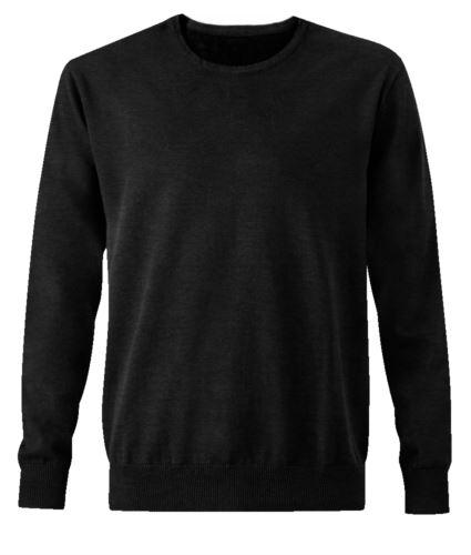 Pullover uomo girocollo, maniche lunghe, costine sui bordi inferiori e polsini, tessuto cotone e acrilico, colore nero
