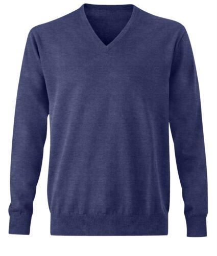 Pullover blu cotone uomo