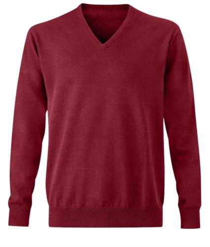 Pullover uomo con scollo a V, maniche lunghe, costine sul collo e polsini, senza cuciture, tessuto cotone e acrilico, colore bordeaux