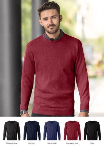 Pullover uomo girocollo, maniche lunghe, costine sui bordi inferiori e polsini, tessuto cotone e acrilico
