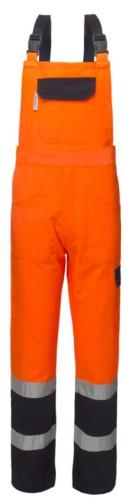 Salopette alta visibilità bicolore, con tascone centrale sulla pettorina, bretelle regolabili, doppia banda sul fondo gamba, certificata EN 20471, colore arancione e blu