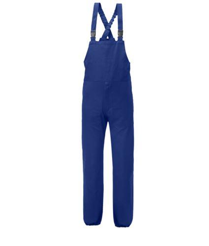 Salopette antimpigliamento, bretelle elasticizzate, apertura laterale, tasca pettorale chiusa con velcro, colore blu. Certificato UNI EN 510 e UNI EN 340:04