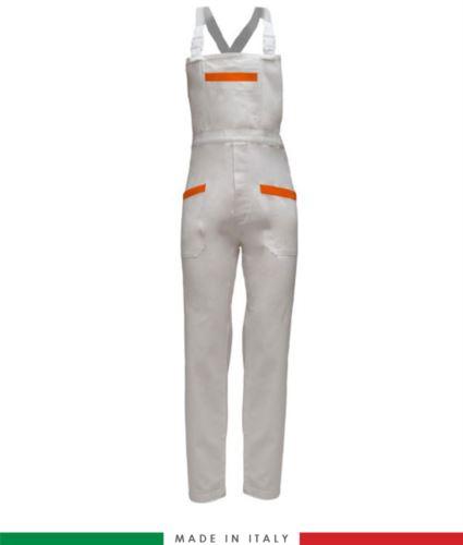 Salopette da lavoro bicolore. Possibilità di produzione personalizzata. Made in Italy. Multitasche. Colore bianco/arancione