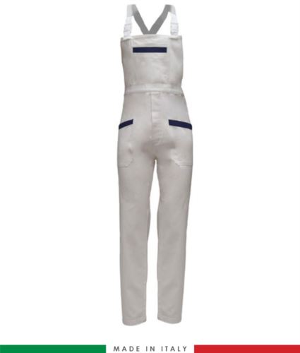 Salopette da lavoro bicolore. Possibilità di produzione personalizzata. Made in Italy. Multitasche. Colore bianco/blu navy