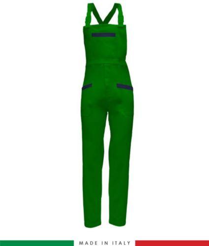 Salopette da lavoro bicolore. Possibilità di produzione personalizzata. Made in Italy. Multitasche. Colore verde brillante/blu navy