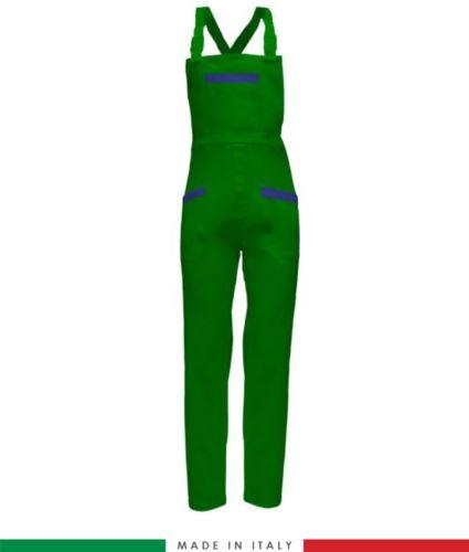 Salopette da lavoro bicolore. Possibilità di produzione personalizzata. Made in Italy. Multitasche. Colore verde brillante/azzurro royal