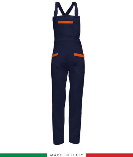 Salopette da lavoro bicolore. Possibilità di produzione personalizzata. Made in Italy. Multitasche. Colore blu navy/arancione