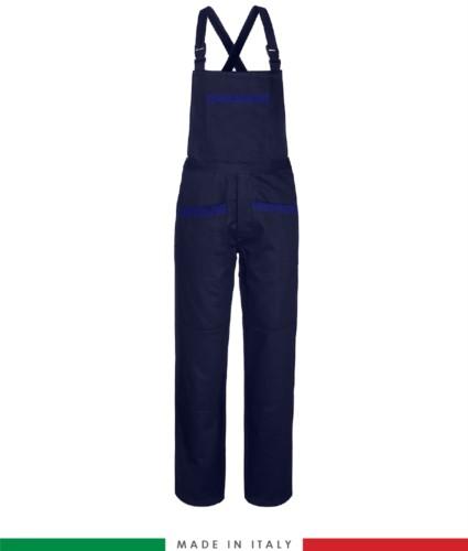 Salopette da lavoro bicolore. Possibilità di produzione personalizzata. Made in Italy. Multitasche. Colore blu navy/azzurro royal
