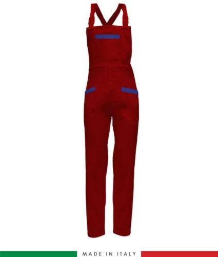 Salopette da lavoro bicolore. Possibilità di produzione personalizzata. Made in Italy. Multitasche. Colore rosso/azzurro royal