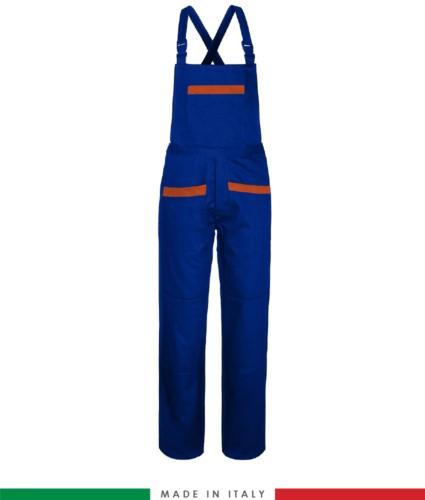 Salopette da lavoro bicolore. Possibilità di produzione personalizzata. Made in Italy. Multitasche. Colore azzurro royal/arancione