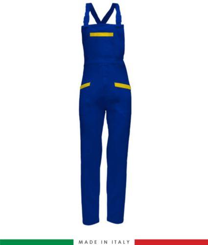 Salopette da lavoro bicolore. Possibilità di produzione personalizzata. Made in Italy. Multitasche. Colore azzurro royal/giallo