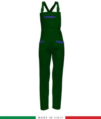 Salopette da lavoro bicolore. Possibilità di produzione personalizzata. Made in Italy. Multitasche. Colore verde bottiglia/azzurro royal