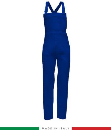 Salopette da lavoro bicolore. Possibilità di produzione personalizzata. Made in Italy. Multitasche. Colore azzurro royal