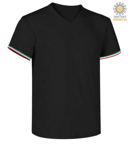 T-shirt a manica corta, con lo scollo a V, tricolore italiano sul fondo manica, colore blu navy