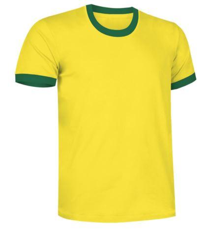 T-Shirt a maniche corte in cotone ring spun, girocollo e fondo manica in contrasto, colore giallo e verde
