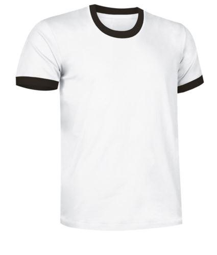 T-Shirt a maniche corte in cotone ring spun, girocollo e fondo manica in contrasto, colore bianco e nero
