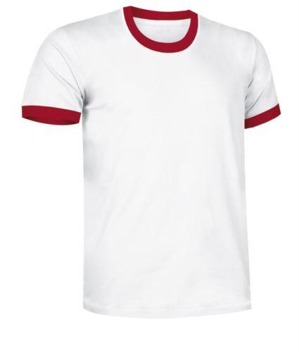 T-Shirt a maniche corte in cotone ring spun, girocollo e fondo manica in contrasto, colore bianco e rosso