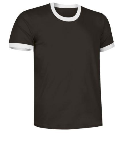 T-Shirt a maniche corte in cotone ring spun, girocollo e fondo manica in contrasto, colore nero e bianco