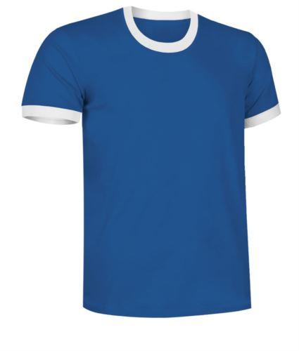 T-Shirt a maniche corte in cotone ring spun, girocollo e fondo manica in contrasto, colore celeste e bianco