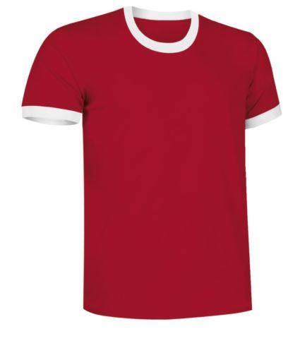 T-Shirt a maniche corte in cotone ring spun, girocollo e fondo manica in contrasto, colore rosso e bianco