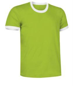 T-Shirt a maniche corte in cotone ring spun, girocollo e fondo manica in contrasto, colore verde e bianco