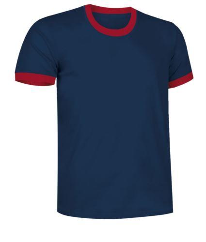 T-Shirt a maniche corte in cotone ring spun, girocollo e fondo manica in contrasto, colore blu navy e rosso