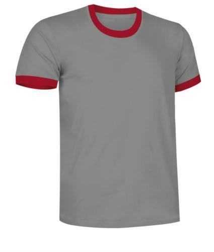 T-Shirt a maniche corte in cotone ring spun, girocollo e fondo manica in contrasto, colore grigio e rosso