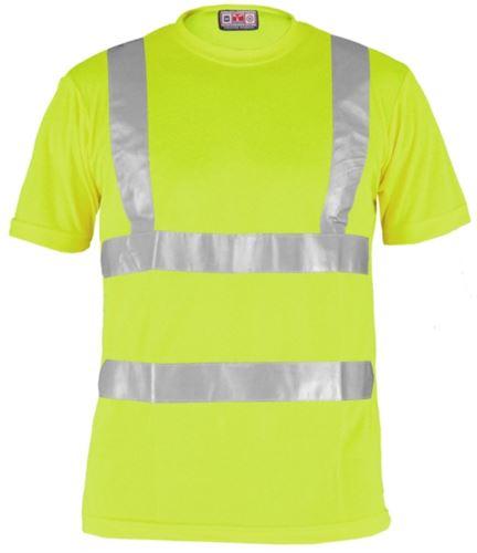 T-shirt alta visibilità con bande riflettenti, certificata EN 20471, colore giallo