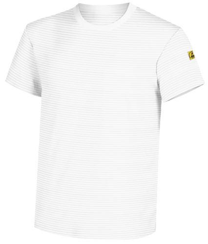 T-Shirt antistatica a maniche corte, girocollo, certificata EN 1149-5, EN 61340-5-1:2007. Colore bianco medicale