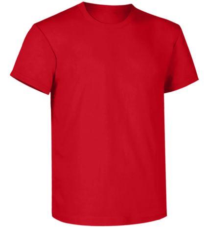 T-shirt da lavoro, collo in costina con elastane, colore rosso