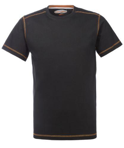 T-Shirt da lavoro girocollo, con cuciture di colore a contrasto, colore nero
