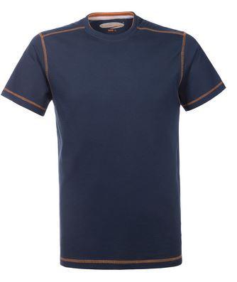 T-Shirt da lavoro girocollo, con cuciture di colore a contrasto, colore blu