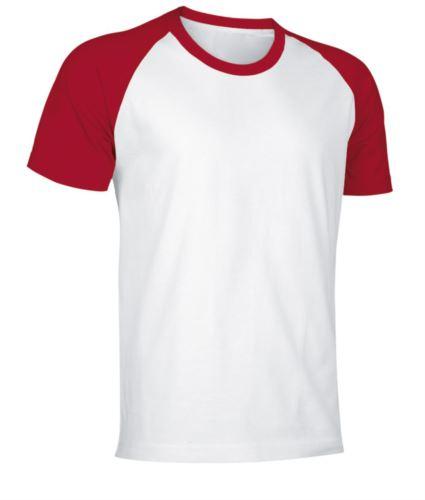 T-Shirt da lavoro manica corta, bicolore in jersey, colore bianco e rosso