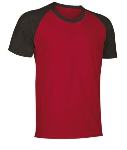 T-Shirt da lavoro manica corta, bicolore in jersey, colore rosso e nero