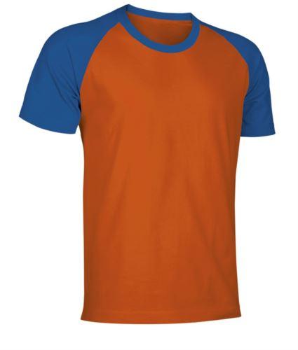 T-Shirt da lavoro manica corta, bicolore in jersey, colore arancione e azzurro royal