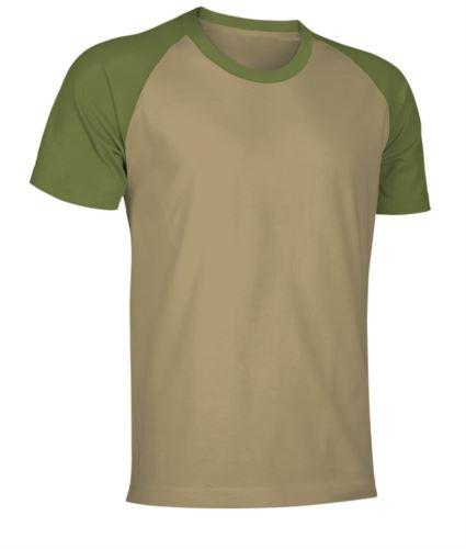 T-Shirt da lavoro manica corta, bicolore in jersey, colore kaki e oliva
