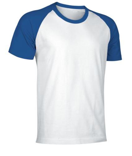 T-Shirt da lavoro manica corta, bicolore in jersey, colore bianco e azzurro royal