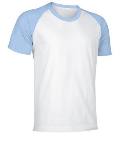 T-Shirt da lavoro manica corta, bicolore in jersey, colore bianco e celeste