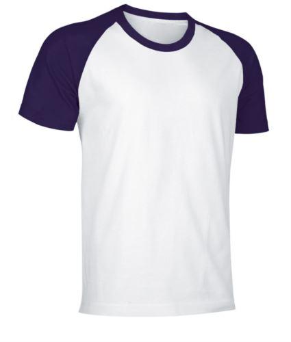 T-Shirt da lavoro manica corta, bicolore in jersey, colore bianco e viola