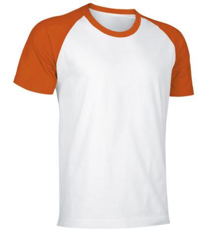 T-Shirt da lavoro manica corta, bicolore in jersey, colore bianco e arancione