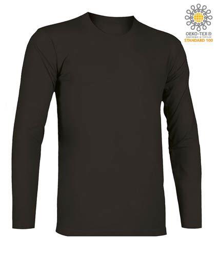 T-Shirt a manica lunga, girocollo, 100% Cotone, colore nero