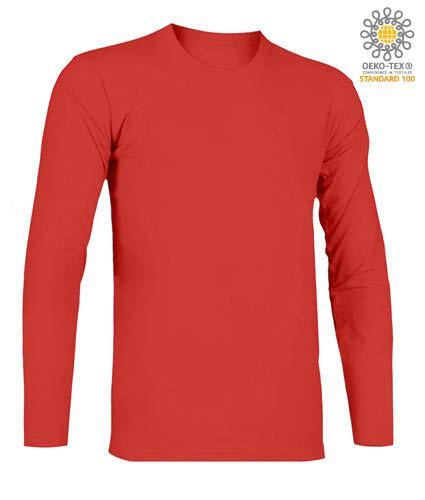 T-Shirt a manica lunga, girocollo, 100% Cotone, colore rosso