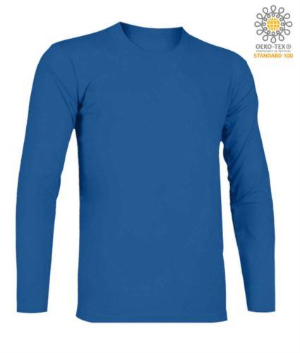 T-Shirt a manica lunga, girocollo, 100% Cotone, colore blu royal