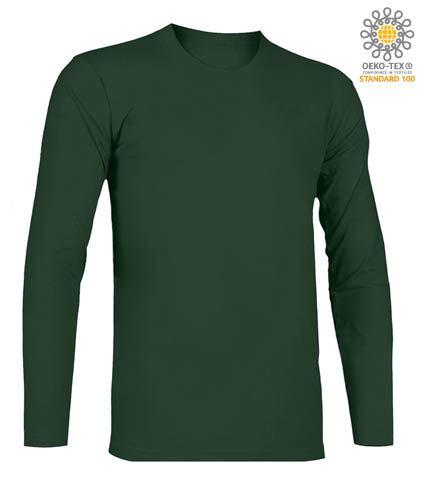 T-Shirt a manica lunga, girocollo, 100% Cotone, colore verde bottiglia