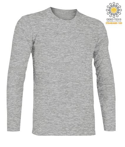 T-Shirt a manica lunga, girocollo, 100% Cotone, colore sport grey
