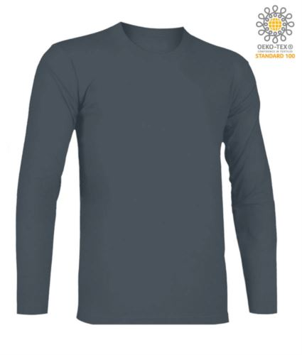 T-Shirt a manica lunga, girocollo, 100% Cotone, colore grigio scuro