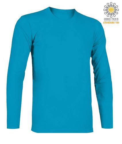 T-Shirt a manica lunga, girocollo, 100% Cotone, colore atollo