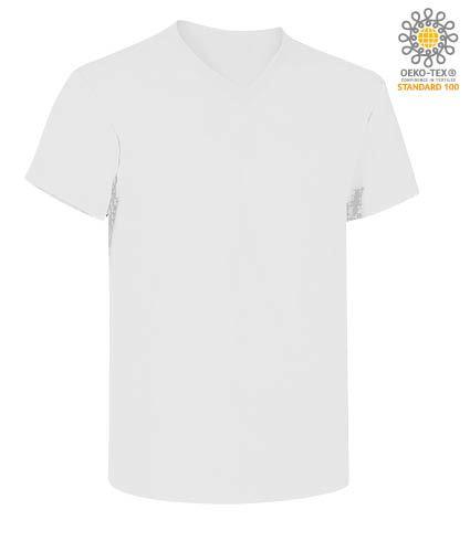 T-Shirt manica corta con scollo a V, in cotone. Colore bianco